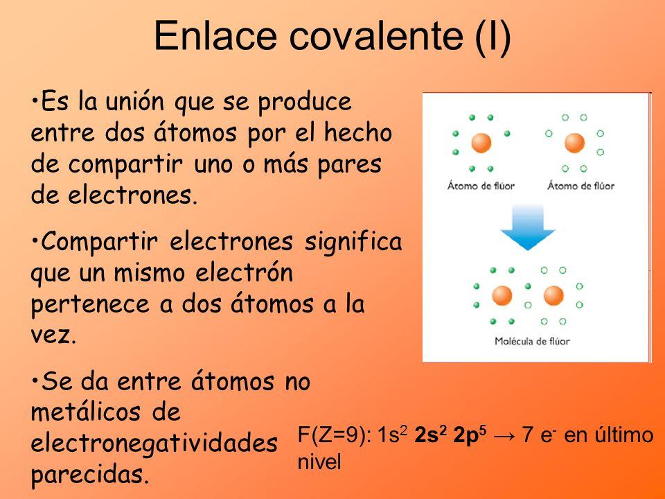Enlace covalente (I)Es la unión que se produce entre dos átomos por el hecho de compartir uno o más pares de electrones.
