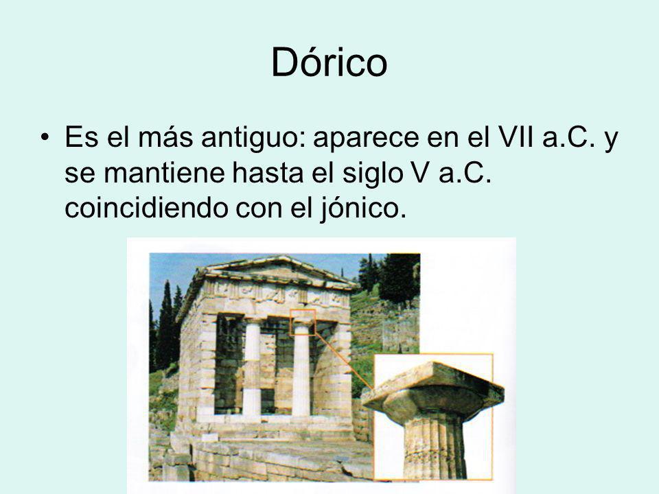 Dórico Es el más antiguo: aparece en el VII a.C. y se mantiene hasta el siglo V a.C.