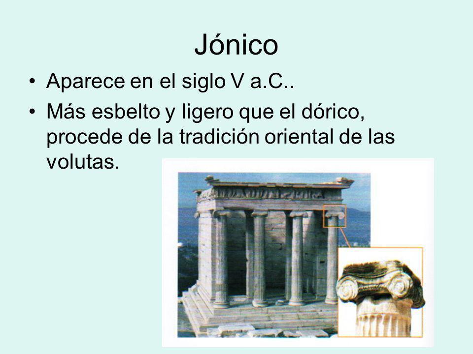 Jónico Aparece en el siglo V a.C..
