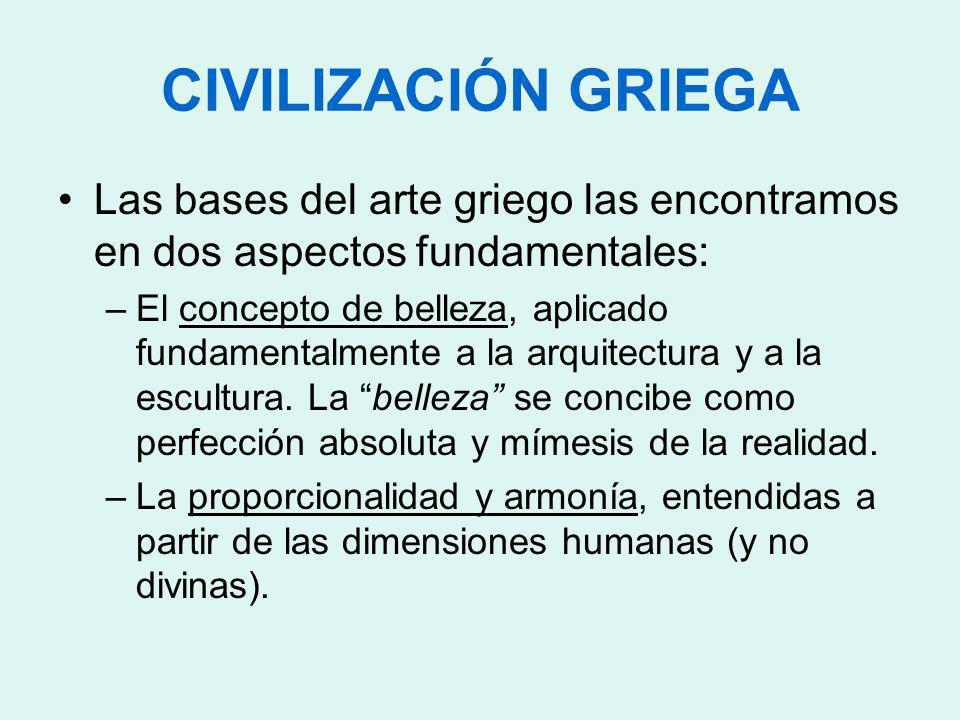 CIVILIZACIÓN GRIEGA Las bases del arte griego las encontramos en dos aspectos fundamentales: