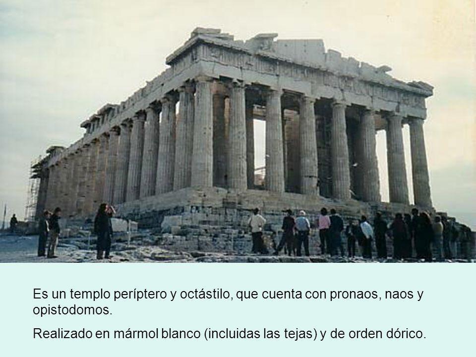 Es un templo períptero y octástilo, que cuenta con pronaos, naos y opistodomos.