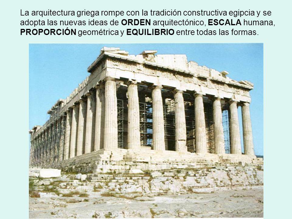 La arquitectura griega rompe con la tradición constructiva egipcia y se adopta las nuevas ideas de ORDEN arquitectónico, ESCALA humana, PROPORCIÓN geométrica y EQUILIBRIO entre todas las formas.