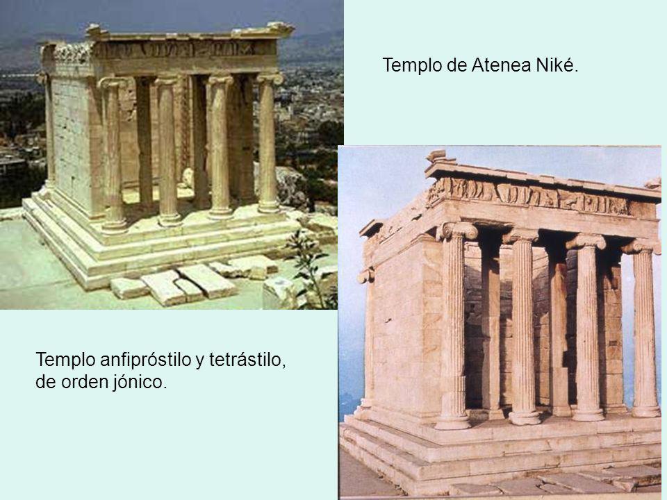 Templo de Atenea Niké. Templo anfipróstilo y tetrástilo, de orden jónico.