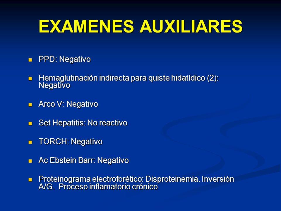 EXAMENES AUXILIARES PPD: Negativo