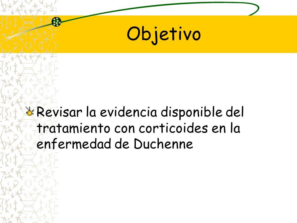 ObjetivoRevisar la evidencia disponible del tratamiento con corticoides en la enfermedad de Duchenne.