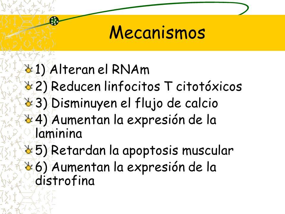 Mecanismos 1) Alteran el RNAm 2) Reducen linfocitos T citotóxicos