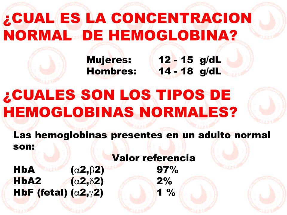 ¿CUAL ES LA CONCENTRACION NORMAL DE HEMOGLOBINA