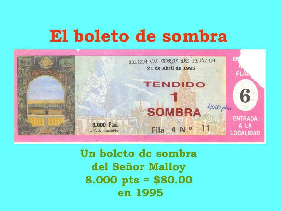 Un boleto de sombra del Señor Malloy 8.000 pts = $80.00 en 1995