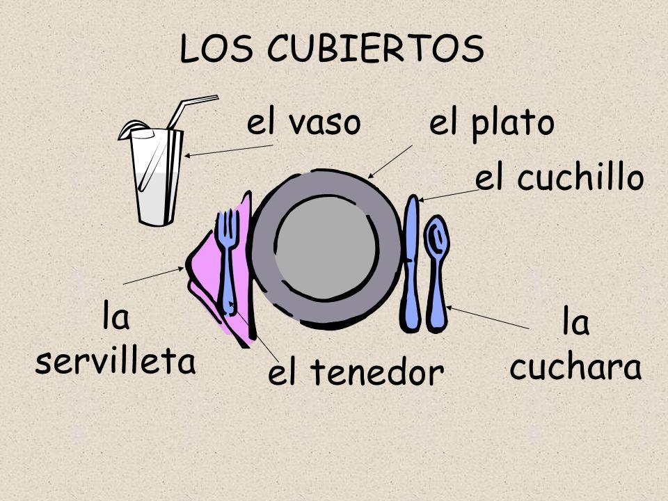 LOS CUBIERTOS el vaso el plato el cuchillo la servilleta la cuchara el tenedor