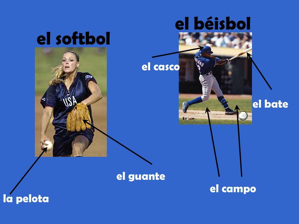 el béisbol el softbol el casco el bate el guante el campo la pelota
