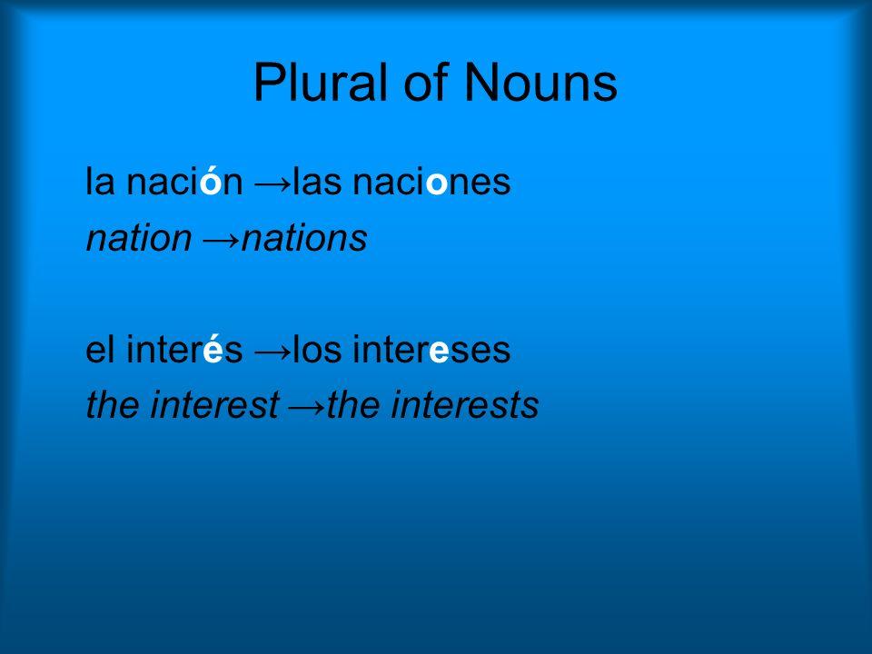 Plural of Nouns la nación →las naciones nation →nations
