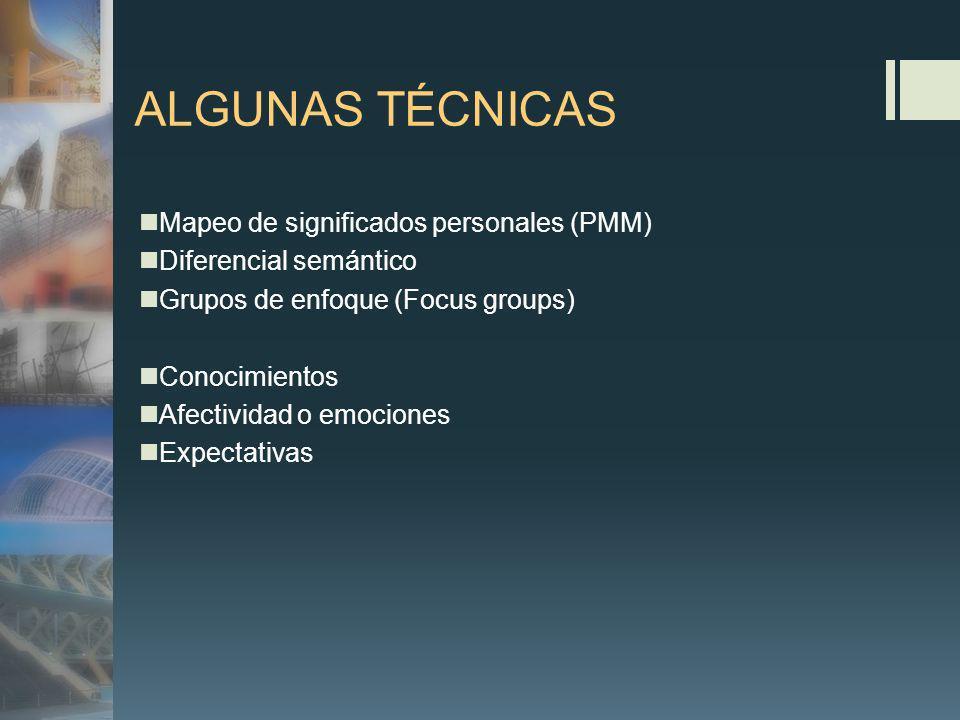 ALGUNAS TÉCNICAS Mapeo de significados personales (PMM)