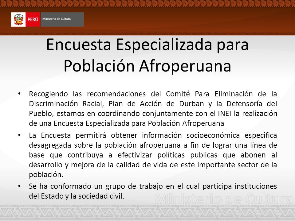 Encuesta Especializada para Población Afroperuana