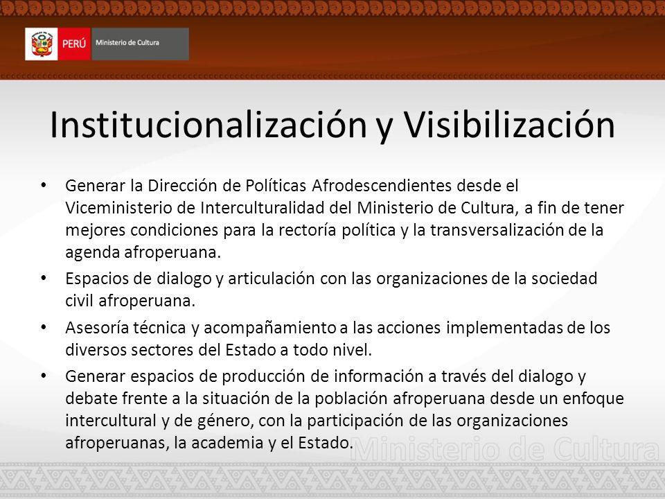 Institucionalización y Visibilización