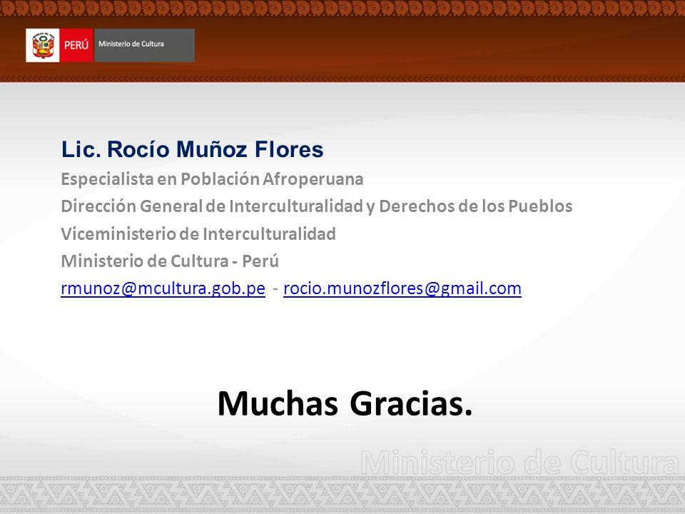 Muchas Gracias. Lic. Rocío Muñoz Flores