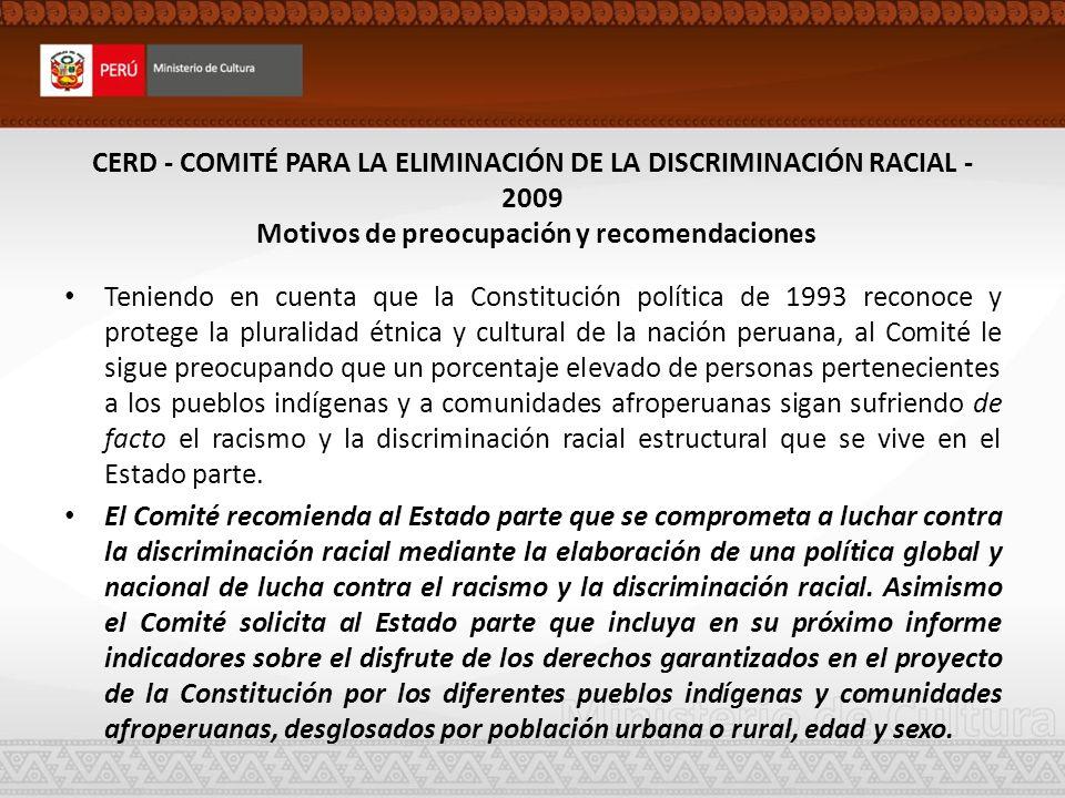 CERD - COMITÉ PARA LA ELIMINACIÓN DE LA DISCRIMINACIÓN RACIAL - 2009 Motivos de preocupación y recomendaciones