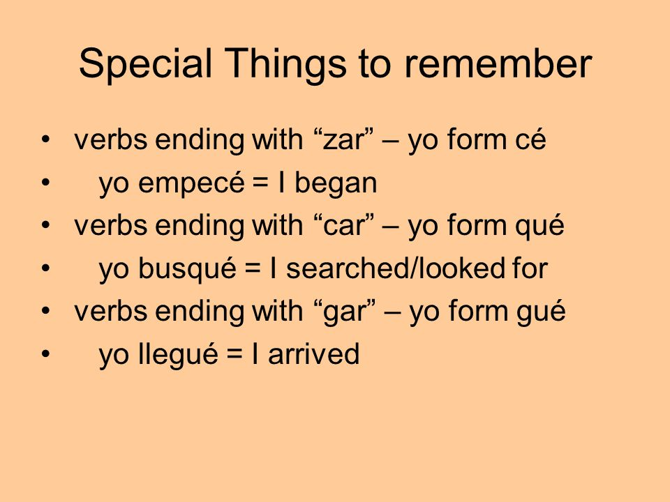 Special Things to remember