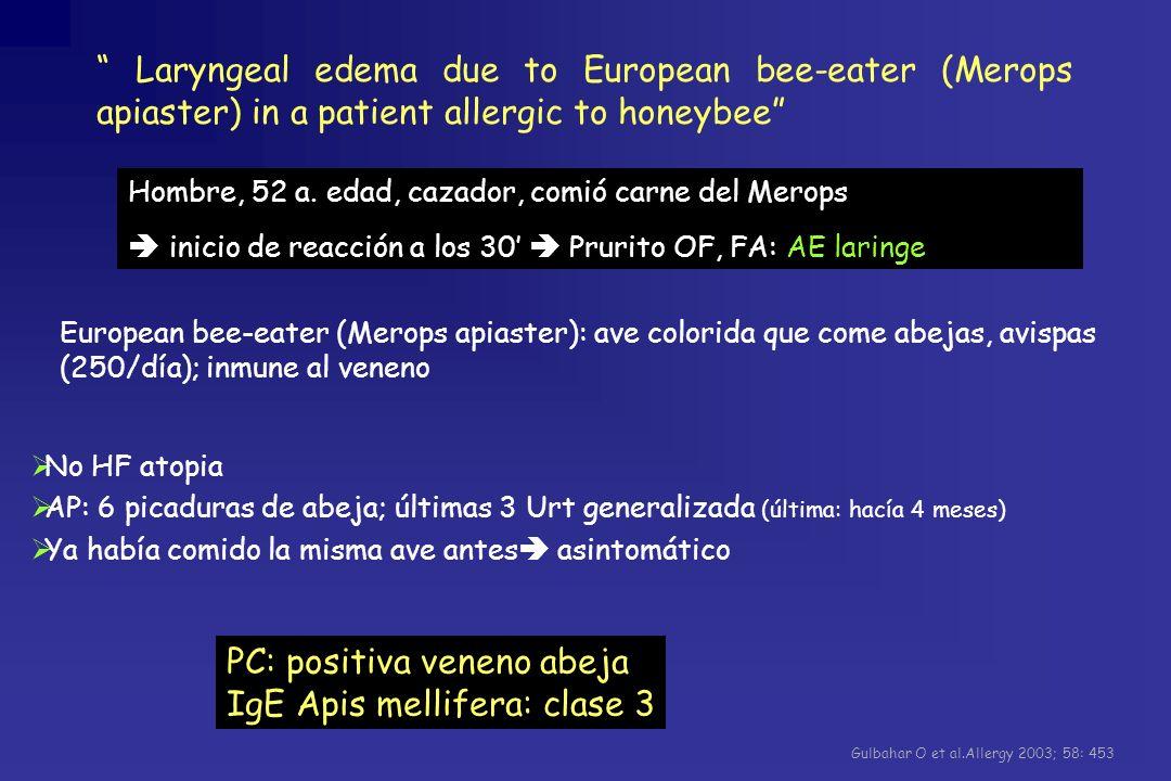 PC: positiva veneno abeja IgE Apis mellifera: clase 3