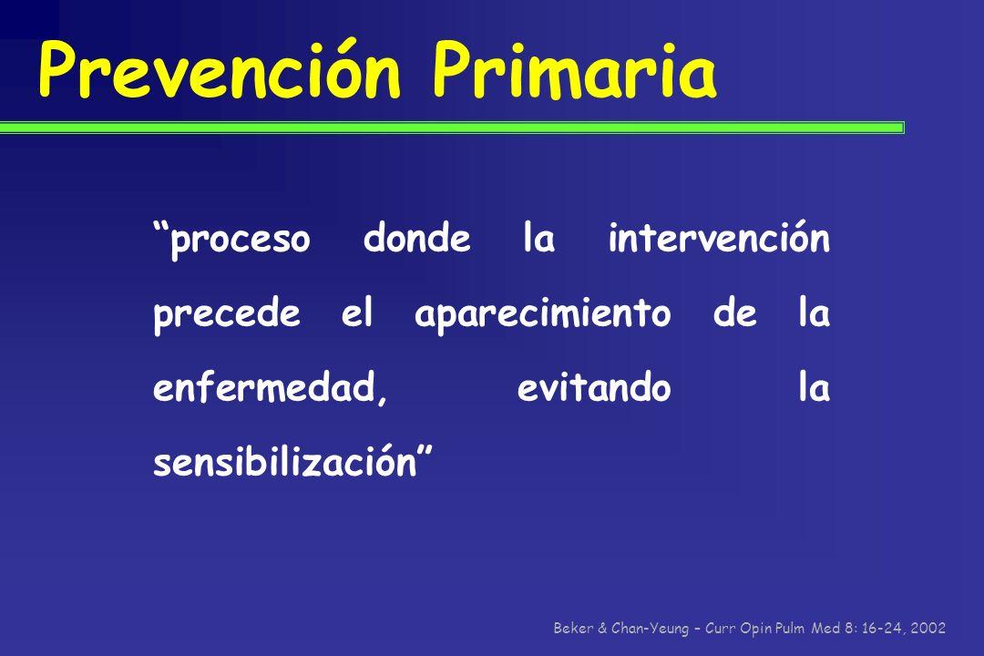 Prevención Primaria proceso donde la intervención precede el aparecimiento de la enfermedad, evitando la sensibilización