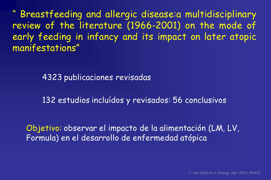 Breastfeeding and allergic disease:a multidisciplinary review of the literature (1966-2001) on the mode of early feeding in infancy and its impact on later atopic manifestations