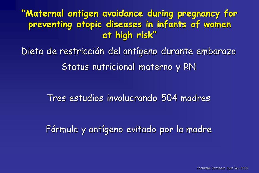 Dieta de restricción del antígeno durante embarazo