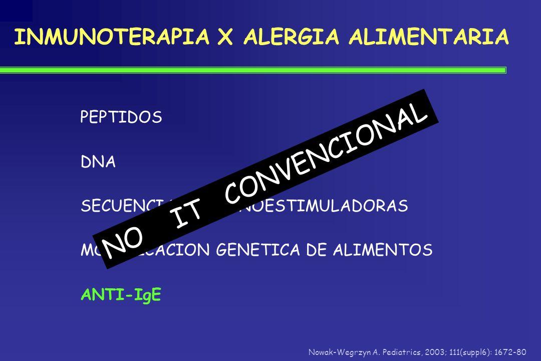 NO IT CONVENCIONAL INMUNOTERAPIA X ALERGIA ALIMENTARIA PEPTIDOS DNA