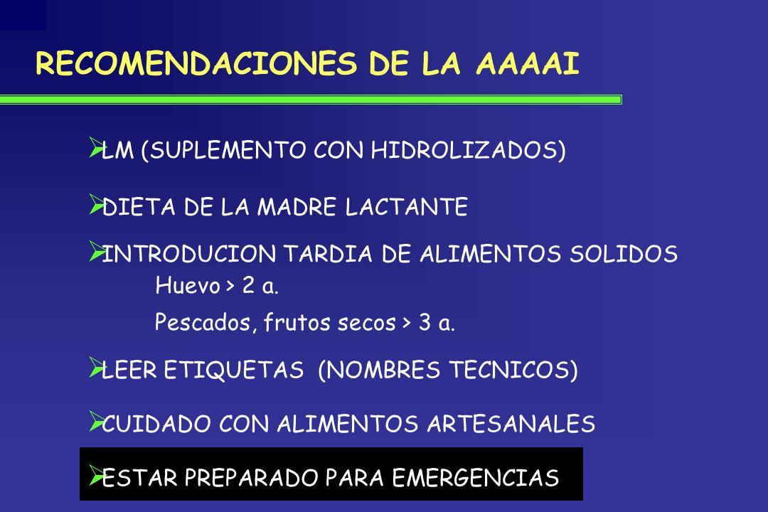RECOMENDACIONES DE LA AAAAI