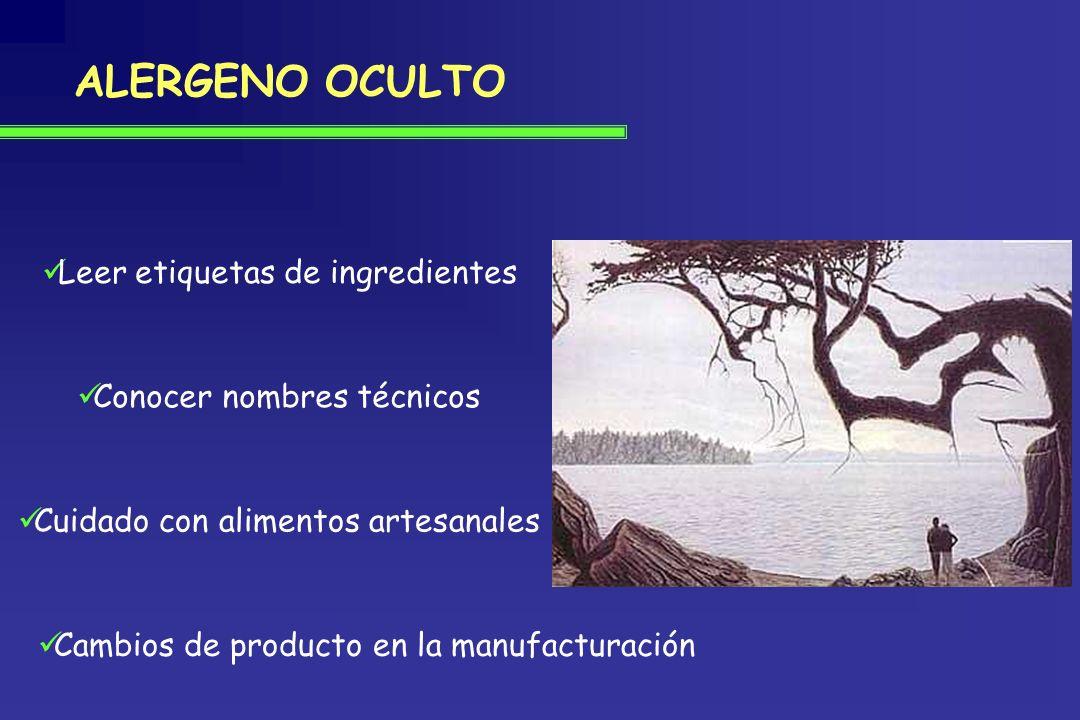 ALERGENO OCULTO Leer etiquetas de ingredientes