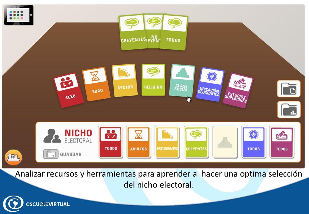 Analizar recursos y herramientas para aprender a hacer una optima selección del nicho electoral.