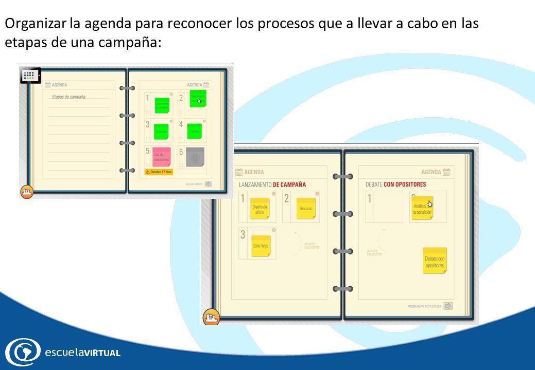 Organizar la agenda para reconocer los procesos que a llevar a cabo en las etapas de una campaña: