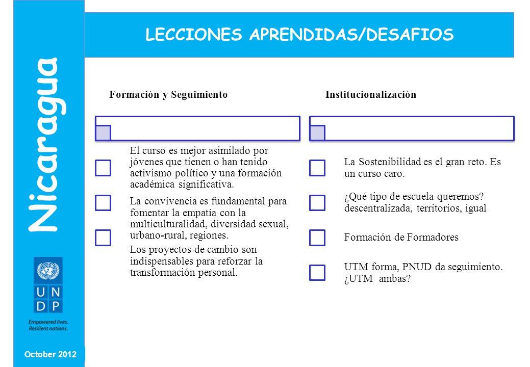 LECCIONES APRENDIDAS/DESAFIOS