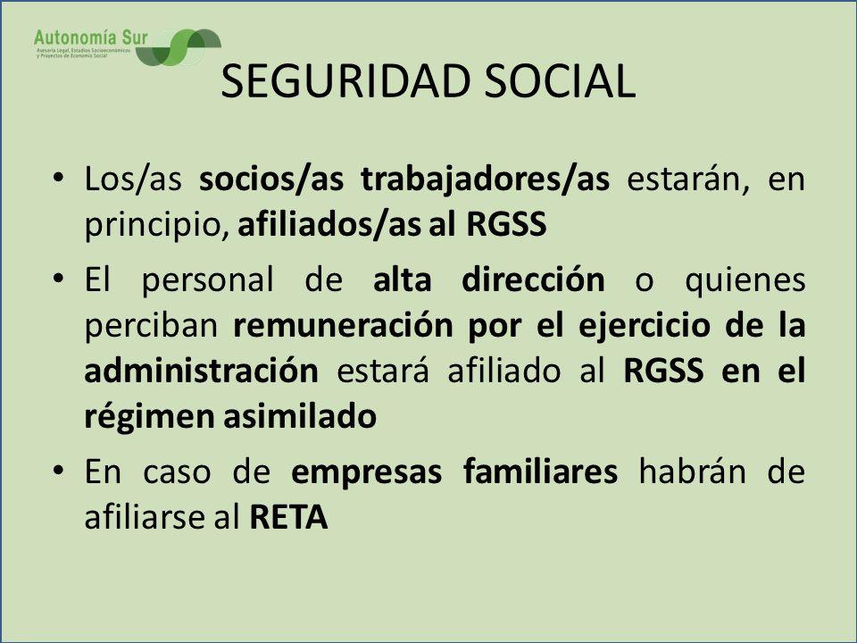 SEGURIDAD SOCIAL Los/as socios/as trabajadores/as estarán, en principio, afiliados/as al RGSS.