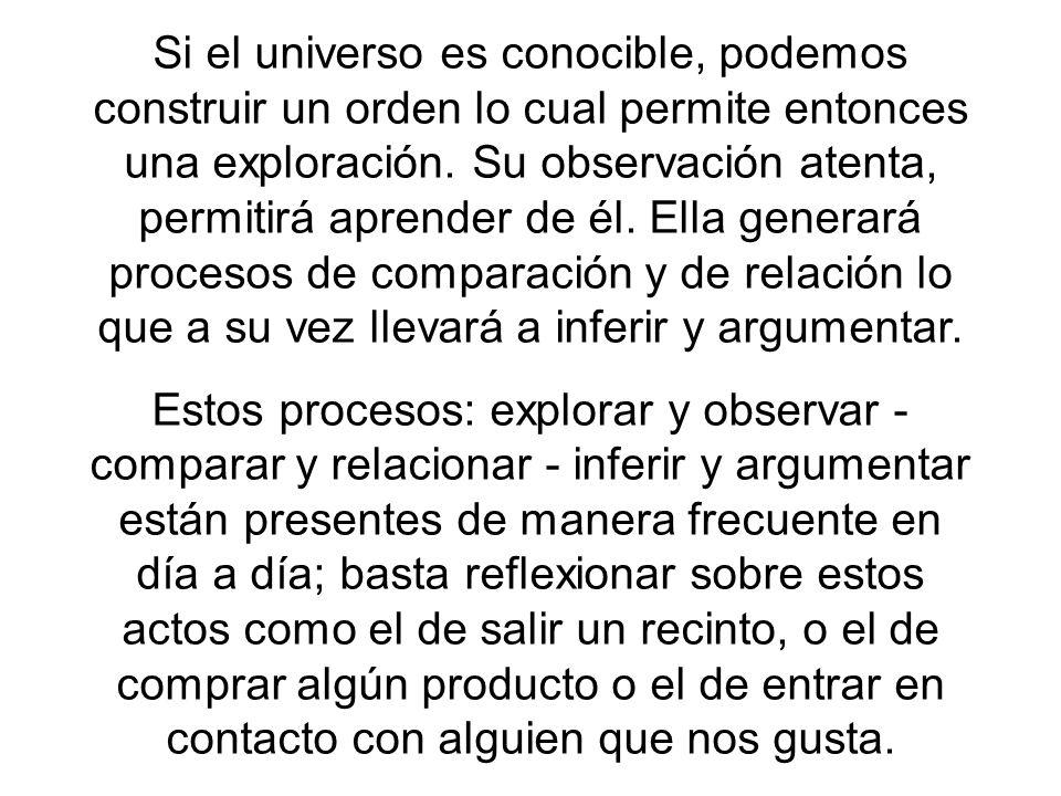 Si el universo es conocible, podemos construir un orden lo cual permite entonces una exploración. Su observación atenta, permitirá aprender de él. Ella generará procesos de comparación y de relación lo que a su vez llevará a inferir y argumentar.