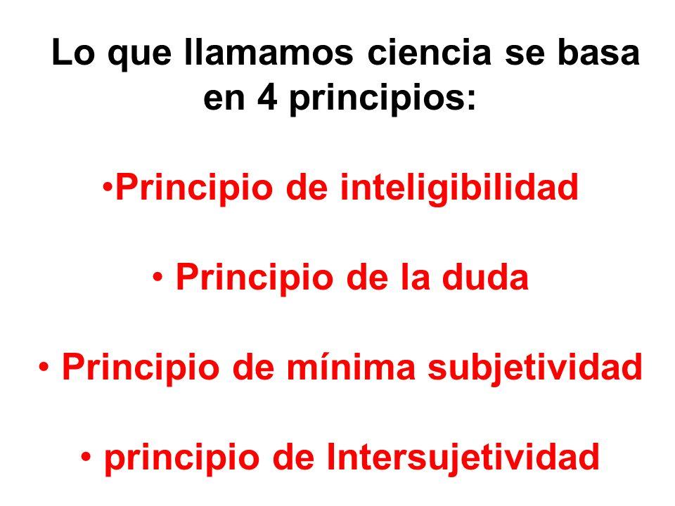 Lo que llamamos ciencia se basa en 4 principios: