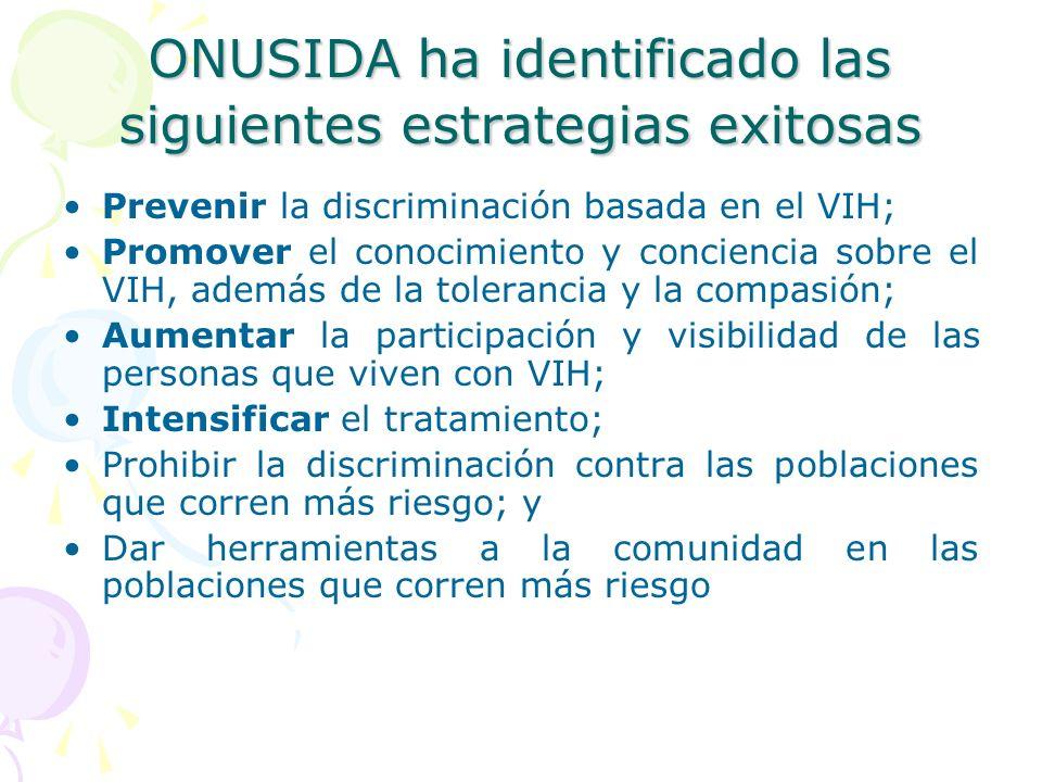 ONUSIDA ha identificado las siguientes estrategias exitosas