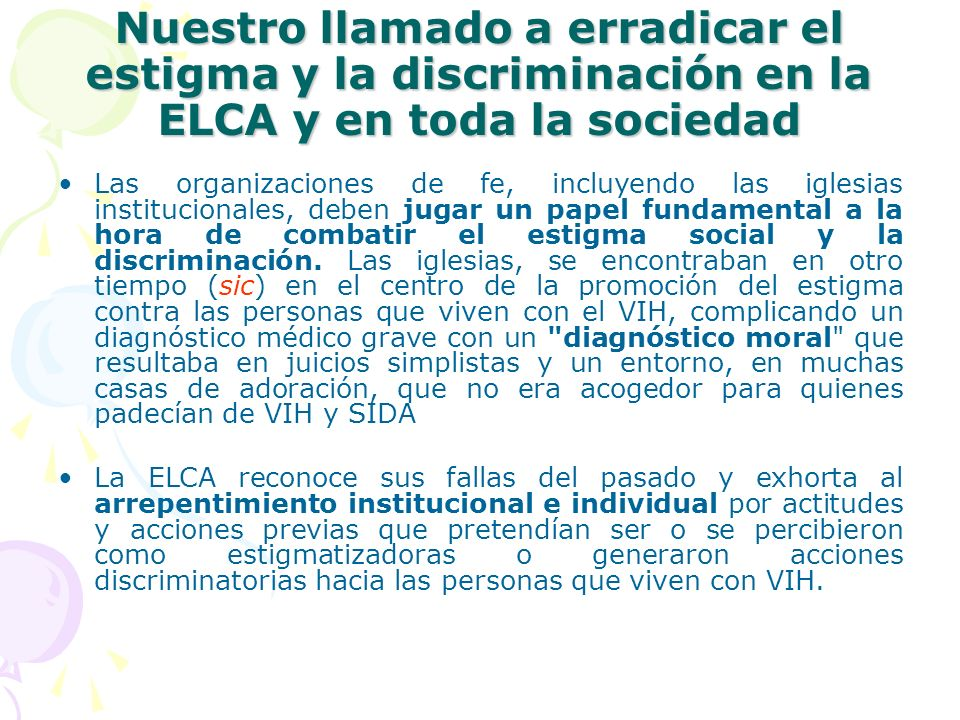 Nuestro llamado a erradicar el estigma y la discriminación en la ELCA y en toda la sociedad