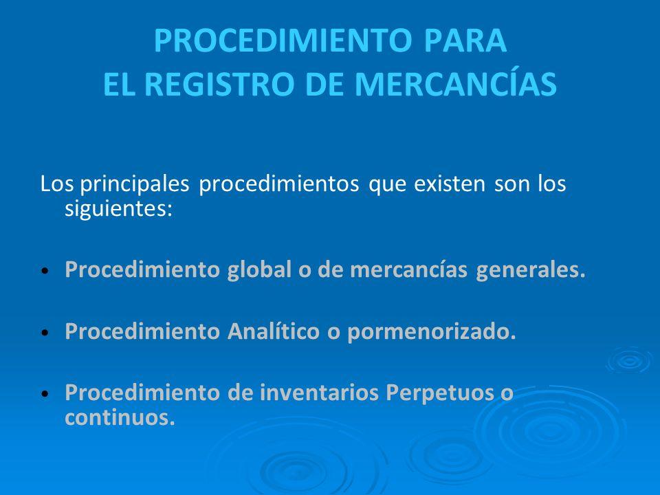 PROCEDIMIENTO PARA EL REGISTRO DE MERCANCÍAS