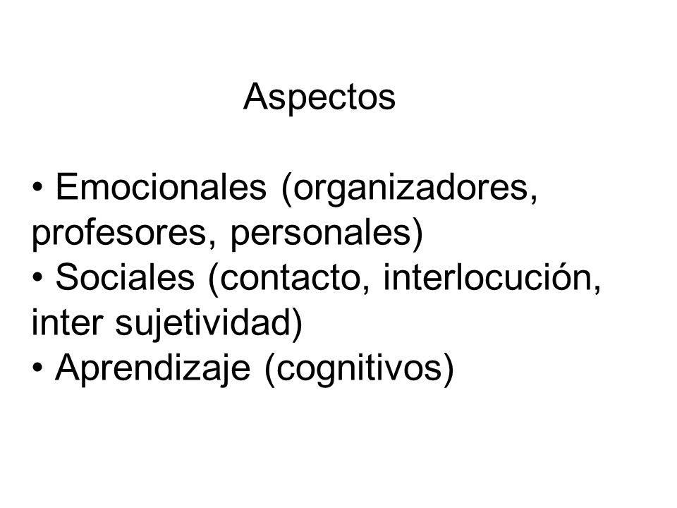 Aspectos Emocionales (organizadores, profesores, personales) Sociales (contacto, interlocución, inter sujetividad)