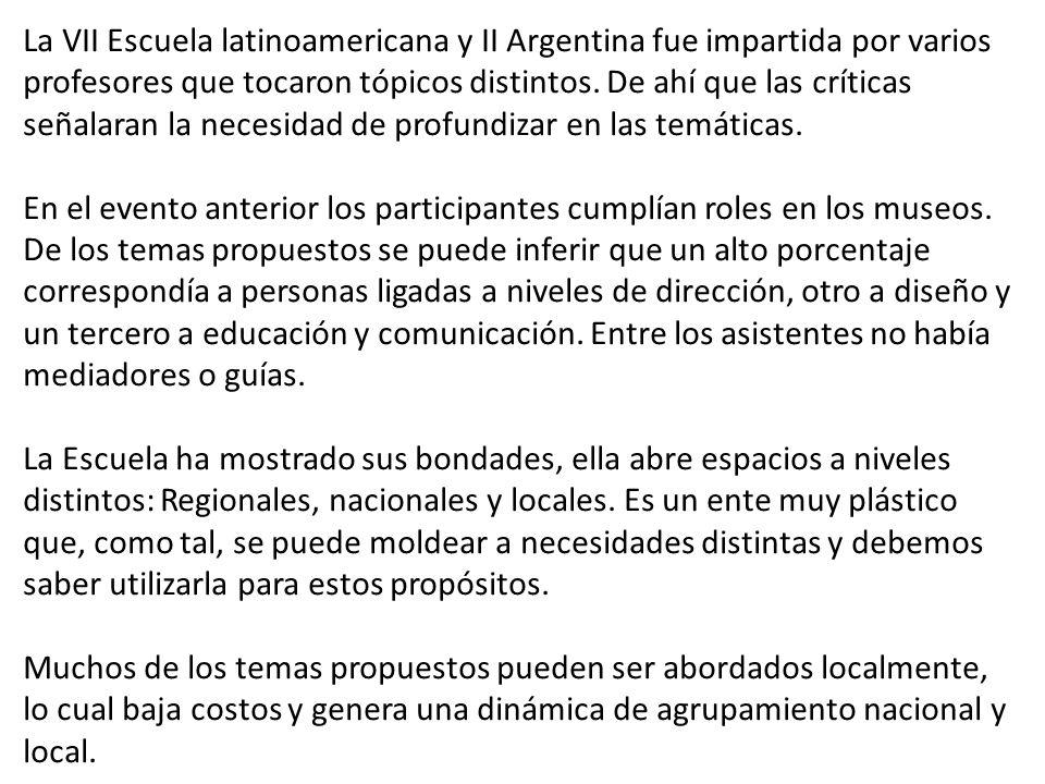La VII Escuela latinoamericana y II Argentina fue impartida por varios profesores que tocaron tópicos distintos. De ahí que las críticas señalaran la necesidad de profundizar en las temáticas.