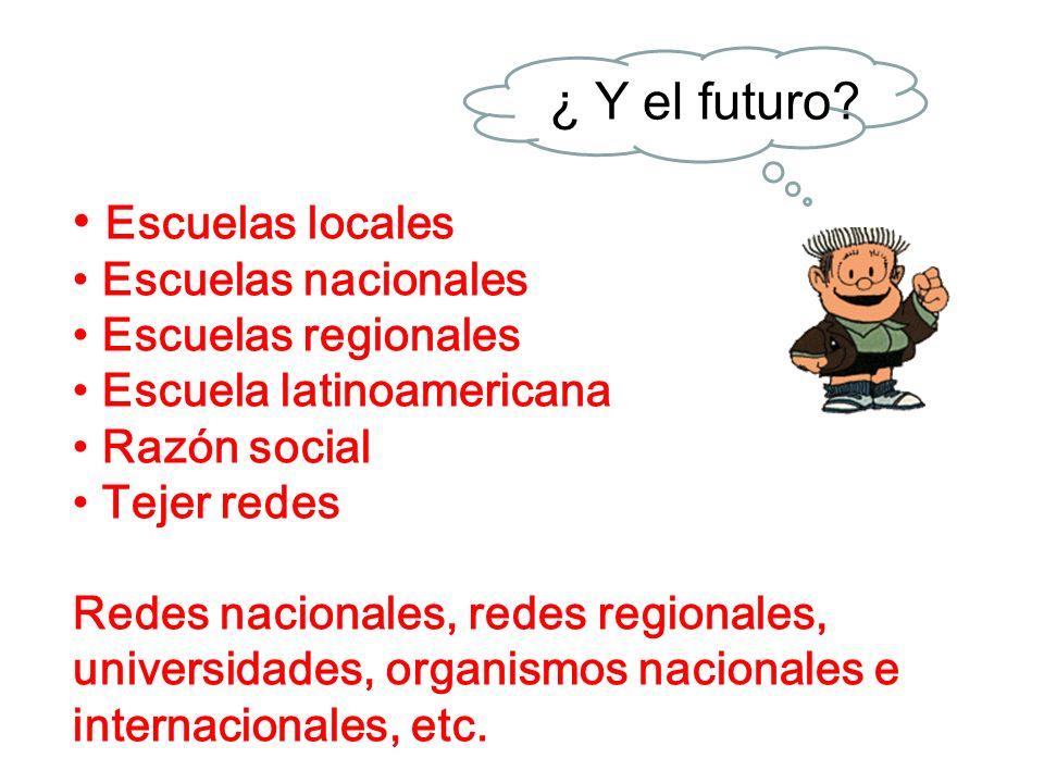 ¿ Y el futuro Escuelas locales Escuelas nacionales