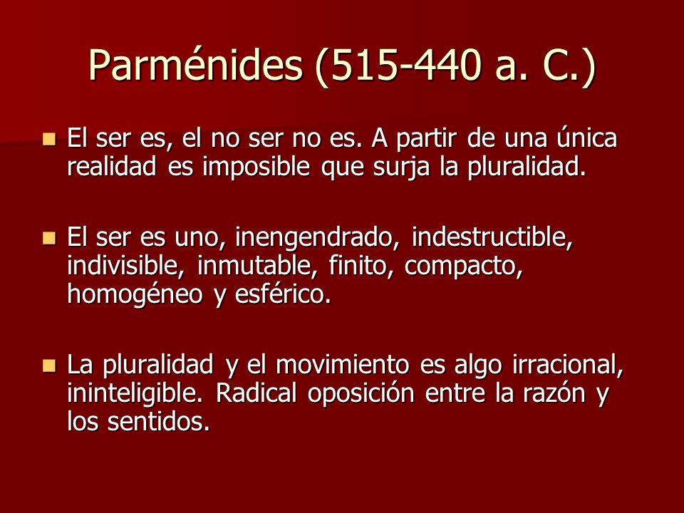 Parménides (515-440 a. C.) El ser es, el no ser no es. A partir de una única realidad es imposible que surja la pluralidad.