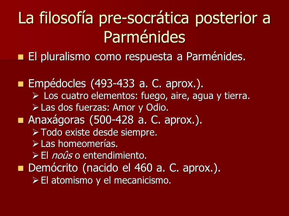 La filosofía pre-socrática posterior a Parménides