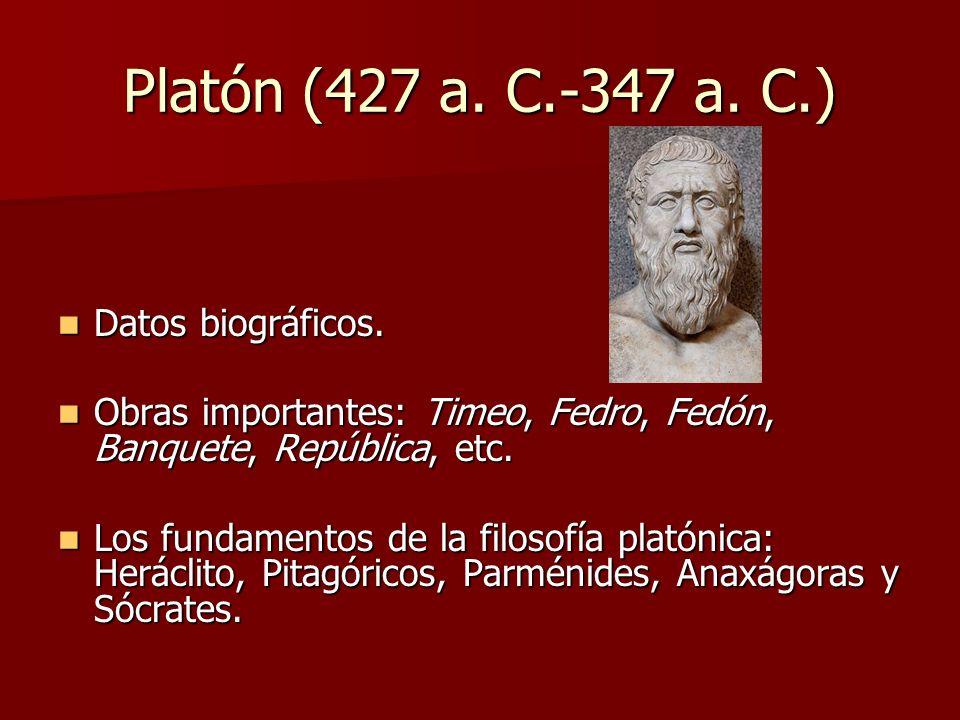 Platón (427 a. C.-347 a. C.) Datos biográficos.