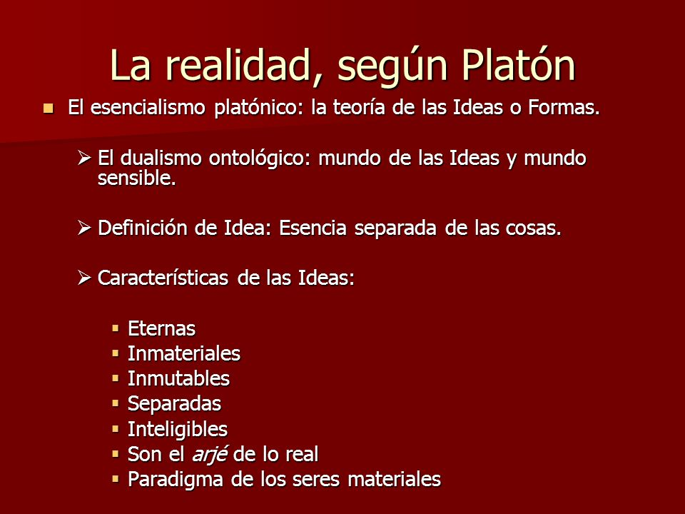 La realidad, según Platón