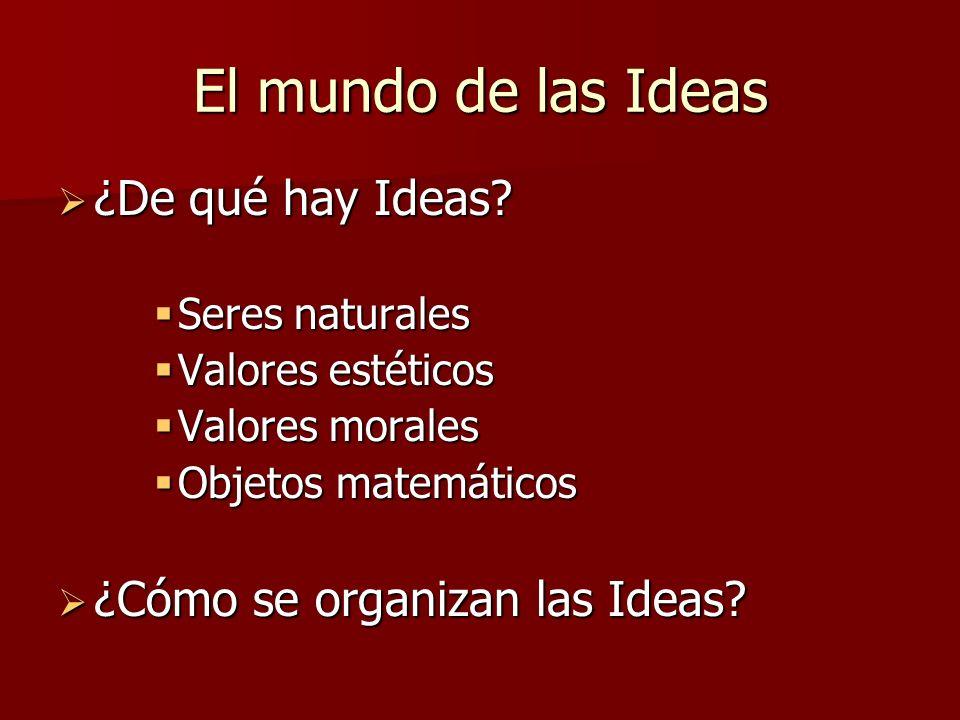 El mundo de las Ideas ¿De qué hay Ideas ¿Cómo se organizan las Ideas