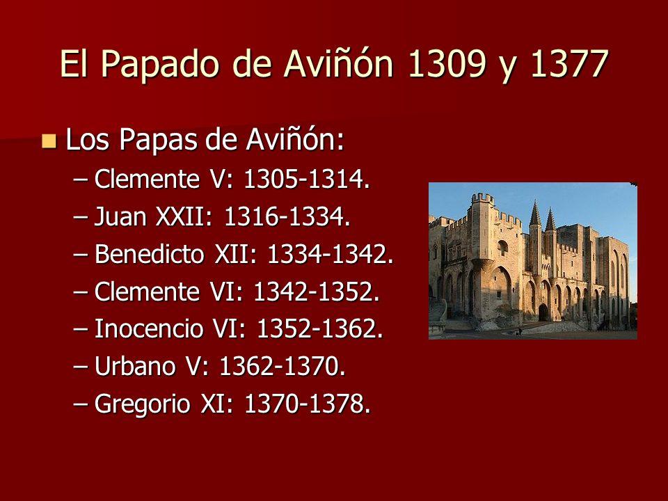 El Papado de Aviñón 1309 y 1377 Los Papas de Aviñón: