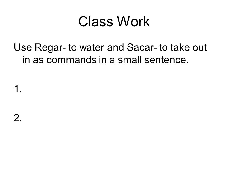 Class Work Use Regar- to water and Sacar- to take out in as commands in a small sentence. 1. 2.