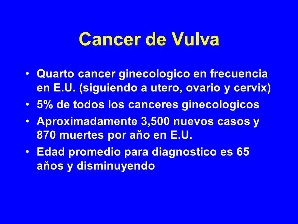 Cancer de Vulva Quarto cancer ginecologico en frecuencia en E.U. (siguiendo a utero, ovario y cervix)