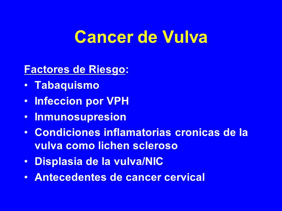 Cancer de Vulva Factores de Riesgo: Tabaquismo Infeccion por VPH