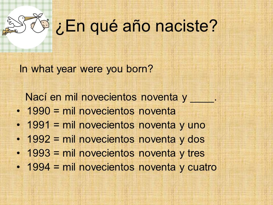 ¿En qué año naciste In what year were you born